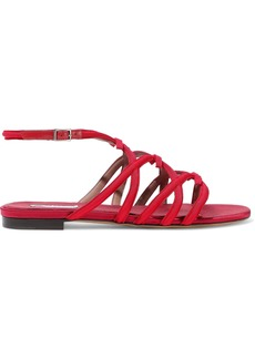 Tabitha Simmons Woman Minna Leather-trimmed Bow-embellished Grosgrain Sandals Red