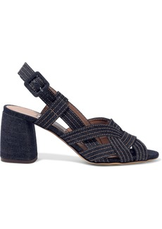 Tabitha Simmons Woman Peggy Denim Slingback Sandals Dark Denim