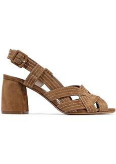 Tabitha Simmons Woman Peggy Denim Slingback Sandals Camel