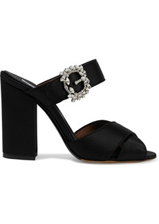 Tabitha Simmons Woman Reyner Buckle-embellished Silk-satin Sandals Black