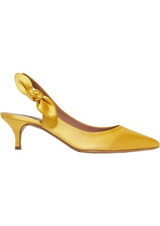 Tabitha Simmons Woman Rise Bow-embellished Satin Slingback Pumps Saffron