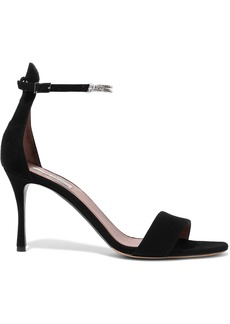 Tabitha Simmons Woman Tilda Chain-embellished Nubuck-paneled Suede Sandals Black