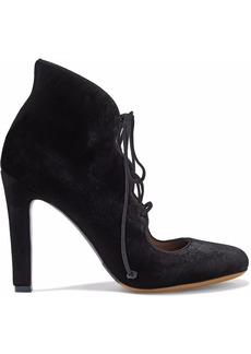 Tabitha Simmons Woman Velvet Lace-up Pumps Black