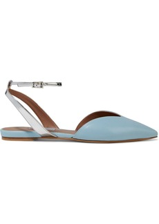 Tabitha Simmons Woman Vera Smooth And Mirrored-leather Point-toe Flats Light Blue