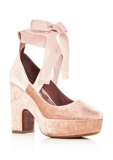 Tabitha Simmons Women's Sky Velvet Ankle Tie Platform Pumps