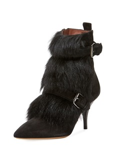 Tabitha Simmons Zina Suede Bootie with Fur Trim