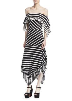 Tabula Rasa Malick Off-the-Shoulder Striped Cotton Handkerchief Dress