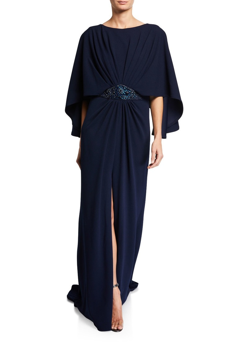 Tadashi 3/4-Sleeve Crepe Gown with Embellishment