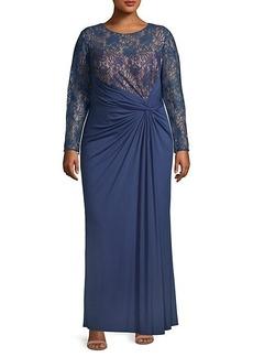 Tadashi Antonina Jersey & Lace Gown