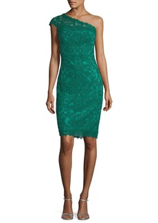 Tadashi Asymmetric Lace Overlay Cocktail Dress