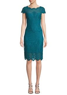Tadashi Bazil Multipattern Cap-Sleeve Lace Sheath Dress