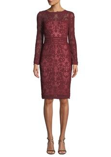 Tadashi Beckett Lattice Lace Long-Sleeve Dress