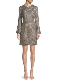 Tadashi Bell-Sleeve Lace Mini Dress