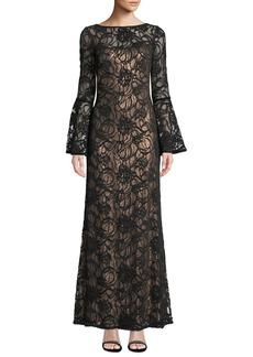 Tadashi Bell-Sleeve Velvet & Sheer Lace Gown