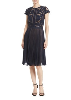 Tadashi Cap-Sleeve Lace Cocktail Dress w/ Pleated Chiffon