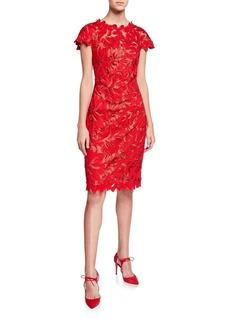 Tadashi Cap-Sleeve Lace Sheath Dress
