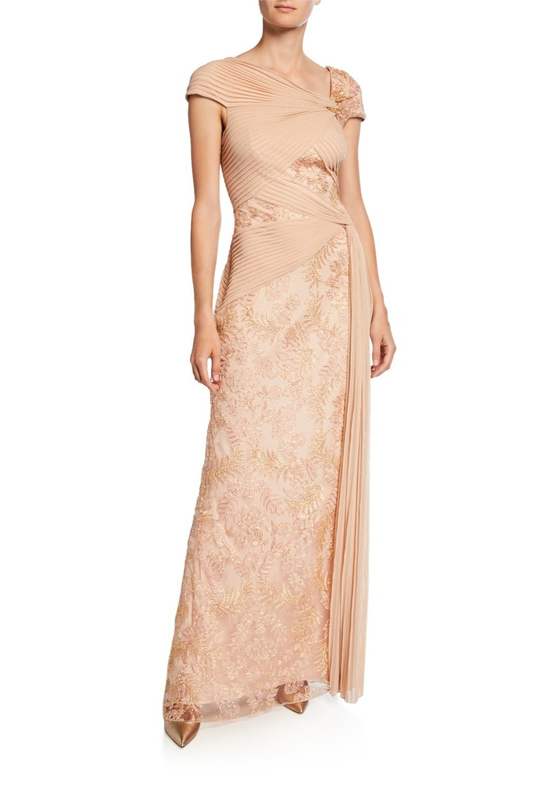 Tadashi Cap-Sleeve Mesh Gown with Lace Inserts