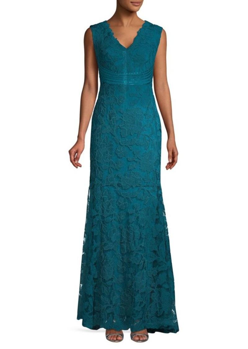 Tadashi Cap Sleeve Metallic Lace Gown