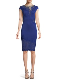 Tadashi Cap-Sleeve Neoprene Lace Illusion Dress