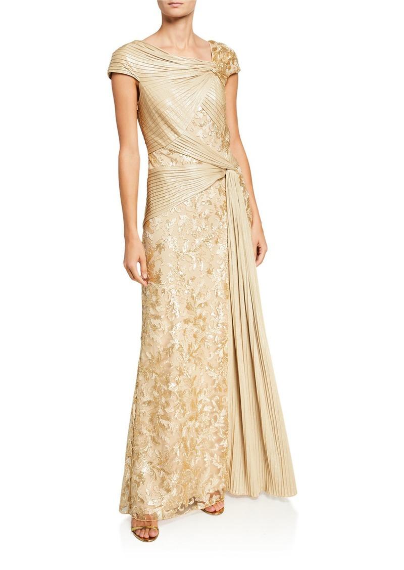 Tadashi Cap Sleeve Pintuck Lace Column Gown
