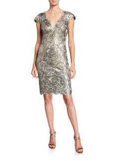 Tadashi Cap-Sleeve Sequin Lace Dress