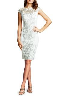 Tadashi Cap-Sleeve Sequin-Panel Sheath Dress