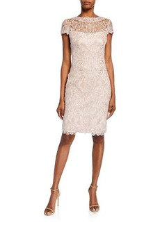 Tadashi Cap-Sleeve Sequined Lace Cocktail Dress