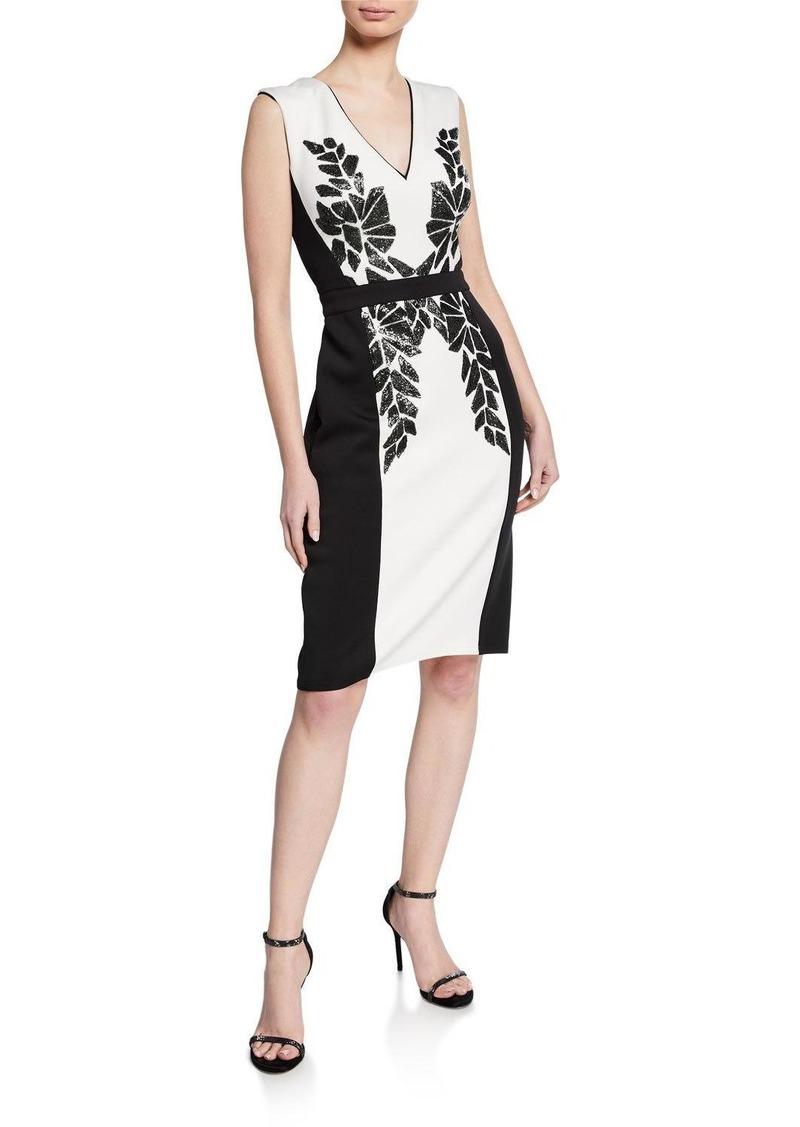 Tadashi Colorblock V-Neck Sleeveless Neoprene Dress w/ Sequin Detail