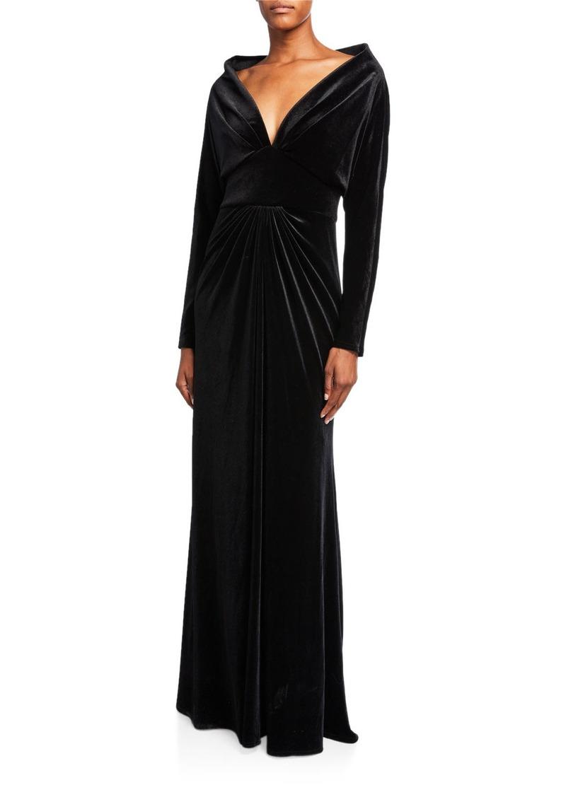 Tadashi Deep V-Neck Long-Sleeve Velvet Gown