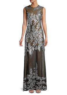 Tadashi Embellished Sleeveless Tulle Gown