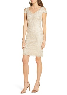Tadashi Embroidered Cold Shoulder Sheath Dress