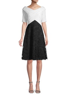 Tadashi Embroidered Colorblock Lace A-Line Dress