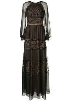 Tadashi embroidered detail longsleeved dress