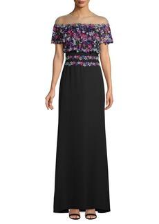 Tadashi Embroidered Illusion Gown