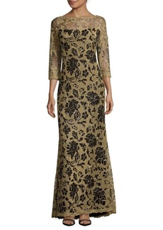 Tadashi Embroidered Lace Gown