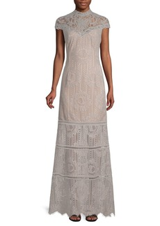 Tadashi Embroidered Mesh Lace Gown