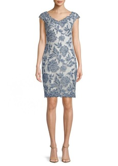 Tadashi Embroidered V-Neck Sheath Dress