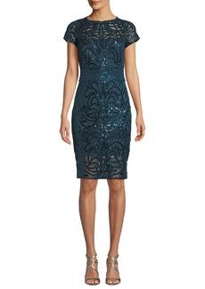 Tadashi Fabia Short-Sleeve Sequin Dress