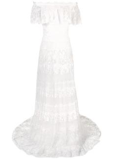 Tadashi floral embroidered bardot maxi dress