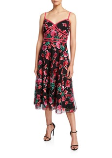 Tadashi Floral Embroidered Sweetheart Dress