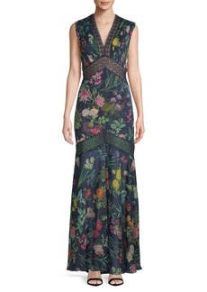 Tadashi Floral Floor-Length Dress