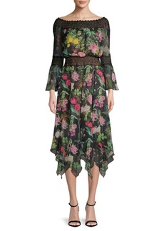 Tadashi Floral Lace Bell-Sleeve Dress