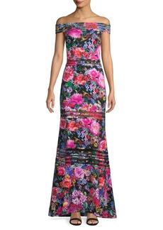 Tadashi Floral Off-The-Shoulder Gown