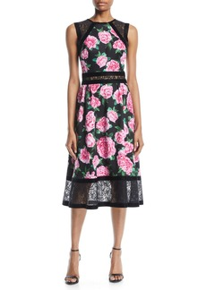 Tadashi Floral-Print Neoprene Midi Dress w/ Lace Details