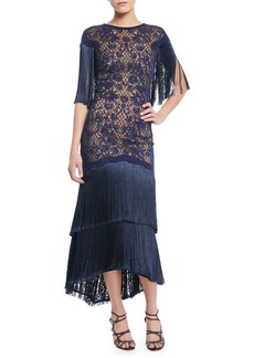 Tadashi Frink Corded Lace Capelet Gown