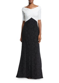 Tadashi Hammered Crepe Short-Sleeve Gown