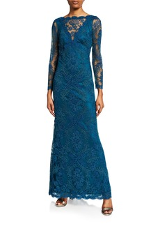 Tadashi High-Neck Bracelet-Sleeve Corded Lace Gown