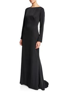 Tadashi High-Neck Illusion-Back Long-Sleeve Crepe Gown