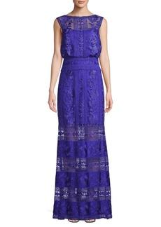 Tadashi Illusion Lace Blouson Gown