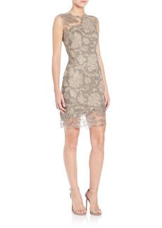 Tadashi Illusion-Neck Lace Mini Dress